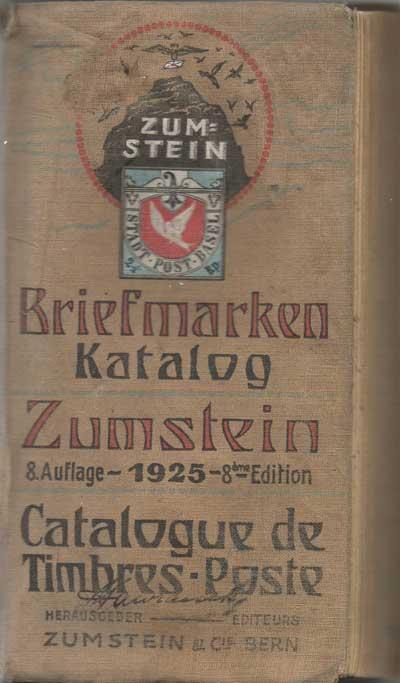 каталог почтовых марок Цумштайн (Zumstein) 1925 года